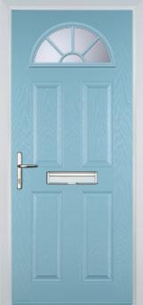4 Panel Sunburst Composite Front Door in Duck Egg Blue
