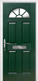 4 Panel Sunburst Composite Front Door in Green