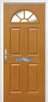 4 Panel Sunburst Composite Front Door in Oak