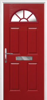 4 Panel Sunburst Composite Front Door in Red