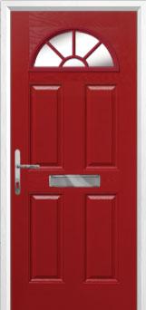 4 Panel Sunburst Composite Front Door in Red
