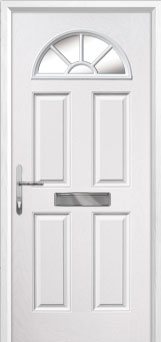 4 Panel Sunburst Composite Front Door in White