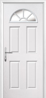 4 Panel Sunburst Glazed Composite Back Door in White