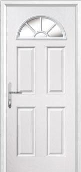 4 Panel Sunburst Glazed Composite Back Door in White