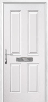 4 Panel Composite Front Door in White
