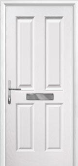 4 Panel Composite Front Door in White
