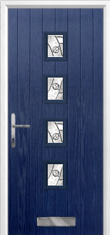 4 Square (centre) Abstract Composite Front Door in Blue