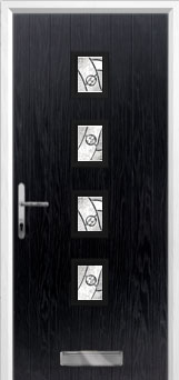 4 Square (centre) Abstract Composite Front Door in Black