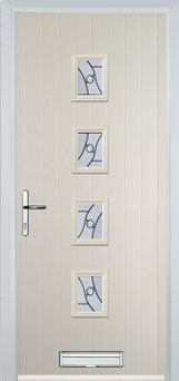 4 Square (centre) Abstract Composite Front Door in Cream