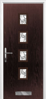4 Square Abstract Composite Front Door in Darkwood