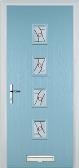 4 Square (centre) Abstract Composite Front Door in Duck Egg Blue