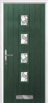 4 Square (centre) Abstract Composite Front Door in Green
