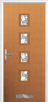 4 Square (centre) Abstract Composite Front Door in Oak