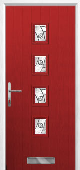 4 Square (centre) Abstract Composite Front Door in Red