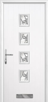 4 Square Abstract Composite Front Door in White