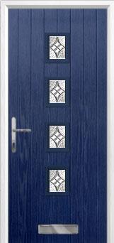 4 Square (centre) Elegance Composite Front Door in Blue