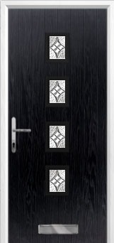 4 Square Elegance Composite Front Door in Black