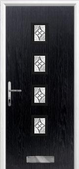 4 Square (centre) Elegance Composite Front Door in Black