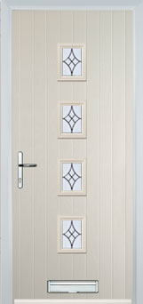 4 Square (centre) Elegance Composite Front Door in Cream