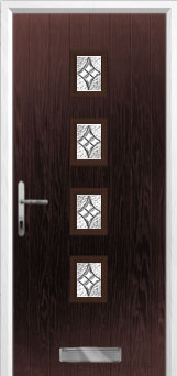 4 Square (centre) Elegance Composite Front Door in Darkwood