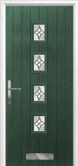 4 Square (centre) Elegance Composite Front Door in Green
