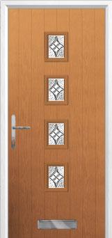 4 Square Elegance Composite Front Door in Oak