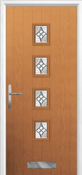 4 Square (centre) Elegance Composite Front Door in Oak