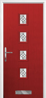 4 Square (centre) Elegance Composite Front Door in Red