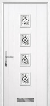4 Square Elegance Composite Front Door in White