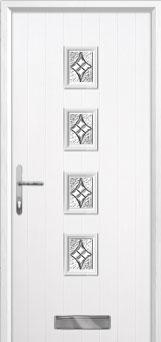 4 Square (centre) Elegance Composite Front Door in White