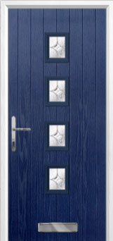 4 Square (centre) Flair Composite Front Door in Blue