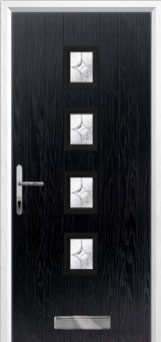 4 Square Flair Composite Front Door in Black
