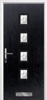 4 Square (centre) Flair Composite Front Door in Black