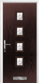 4 Square (centre) Flair Composite Front Door in Darkwood