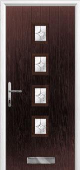 4 Square Flair Composite Front Door in Darkwood
