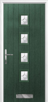 4 Square Flair Composite Front Door in Green