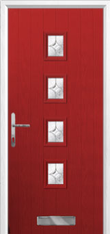 4 Square (centre) Flair Composite Front Door in Red