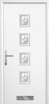 4 Square Flair Composite Front Door in White