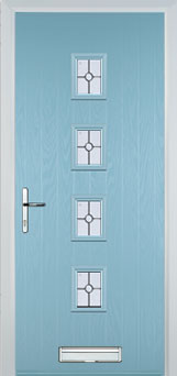 4 Square (centre) Finesse Composite Front Door in Duck Egg Blue