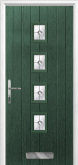 4 Square (centre) Finesse Composite Front Door in Green