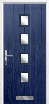 4 Square (centre) Glazed Composite Front Door in Blue