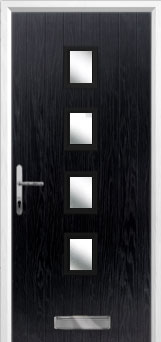 4 Square Glazed Composite Front Door in Black