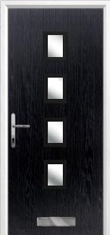 4 Square (centre) Glazed Composite Front Door in Black