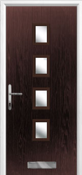 4 Square Glazed Composite Front Door in Darkwood