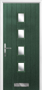 4 Square (centre) Glazed Composite Front Door in Green