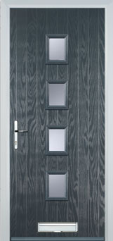 4 Square Glazed Composite Front Door in Grey