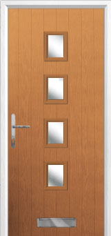 4 Square Glazed Composite Front Door in Oak