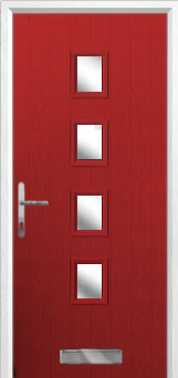 4 Square Glazed Composite Front Door in Red
