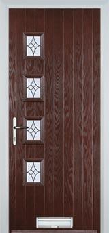 4 Square (off set) Elegance Composite Front Door in Darkwood