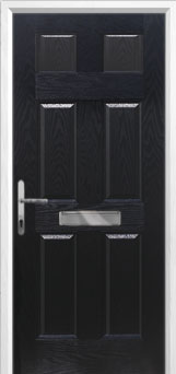 6 Panel Composite Front Door in Black